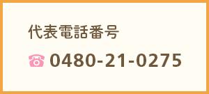 代表電話番号 0480-21-0275